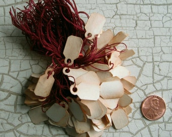 Price TAGS Jewelry 100 small Tea Stained with string, Primitive, Western, Shop, Prim, Folk, Rustic, Cottage, Paper, Vintage