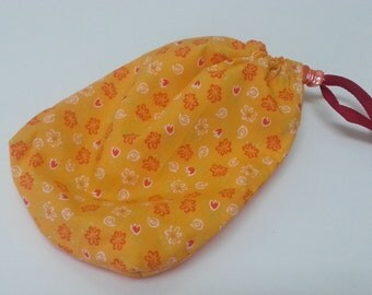 String Bag, Yellow Orange Accessories bag, Flower print phone string bag, Small Pouch