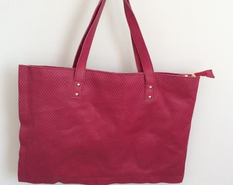 Handmade hot pink leather tote