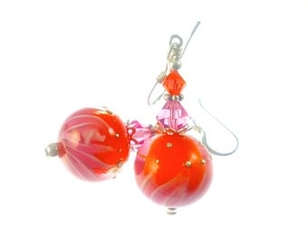 Unique Beaded Earrings, Orange Lampwork Earrings, Glass Bead Jewelry, Pink Dangle Drop Earrings, Beadwork Earrings, Lampwork Jewelry