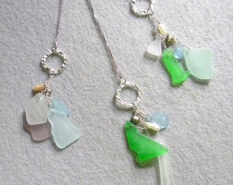 Authetic Natural  Pacific Northwest Sea Glass Cluster Pendant Mint, blue, white  Frosted glass,sterling