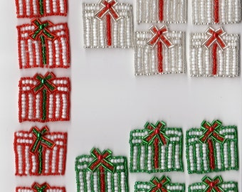 Sequin Beaded Christmas Present Applique Costume Pageant Scrapbooking Tree Skirt Stocking Packages Decorations