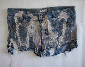 Up-cycled OOAK blue cut-off destroyed denim shorts