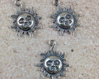 Celestial Sun Charms, sterling silver, 18x15mm, 3 charms