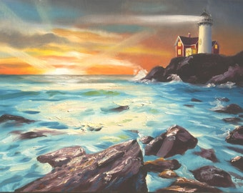 Lighthouse sunset seascape 24x36 oils on canvas painting by RUSTY RUST / M-239