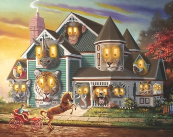 Night Mare, illusion animal house large original 40x60 oils on canvas painting by RUSTY RUST / A-50