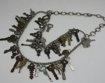 Vintage Keys Handcrafted Repurposed Statement Necklace OOAK