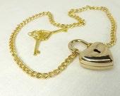 Locking necklace discreet day collar slave collar real padlock gold heart lock