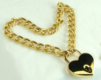 bdsm necklace Gold Heart Lock choker mature slave necklace heart collar choker