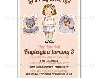 Vintage Paper Doll Printable Invitation, Customizable Wordings, Birthday, Bridal Shower, Baby Shower