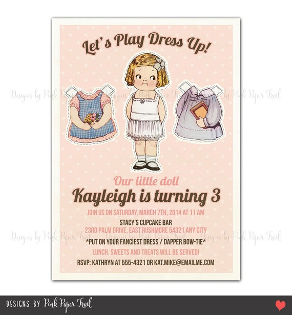 Vintage Paper Doll Printable Invitation, Customizable Wordings, Birthday, Bridal Shower, Baby ...