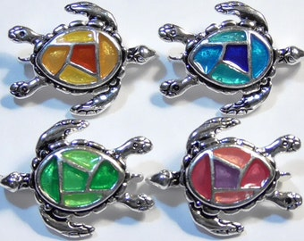Four 2 Hole Slider Beads, 2 Hole Spacer Or Connectors Silver Plated Multi Color Mosaic Enamel Shell Sea Turtles Beach Seashore Marine Life