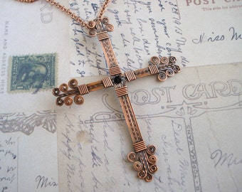 Copper Wire Wrapped Cross Free Shipping
