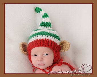 Santa's Helper Elf Hat , Newborn Christmas Hat, Baby Christmas Pixie Hat, Newborn Christmas PHOTO PROP