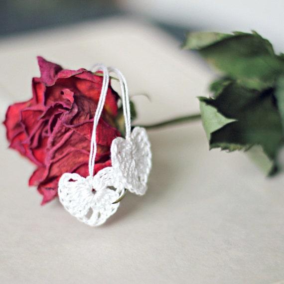 Crocheted Heart Motifs, 7 Tiny Hearts, Bridal Shower Decor, White Wedding Decor, Love, Romance