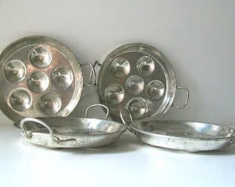 4 Mid-Century Modern Escargo Individual Serving Plates, made in France