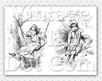 Clip Art Victorian Girls Old Engraving Tree and Swing Clipart Barefoot Water Collage Sheet Printable Digital Instant Download Scrapbooking