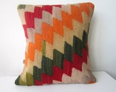 Handwoven Turkish Rug Pillow Cover, Decorative Pillows, Accent Pillow, Throw Pillow, Kilim Pillow Cover, Vintage Pillow, Lumbar Pillow
