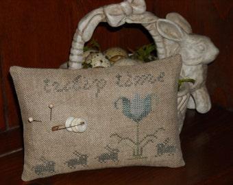 Tulip Time Pincushion, Primitive Cross Stitch Pinkeep, Spring Bunny Tulips - FREE US SHIPPING