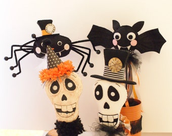 PDF PATTERN Halloween Shakers, Vintage Style Shakers, Skeleton, Bat, Spider, Shaker, Felt, Halloween Decoration, Halloween Pattern