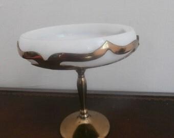Art Deco Farber Bros Compote Cambridge Milk Glass Insert