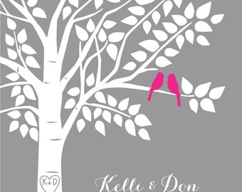 Pink and Gray Wedding Hot Pink Fuschia Guest Book Tree Personalized Wedding Print - 16x20 - 100 Signature Keepsake Guestbook Poster