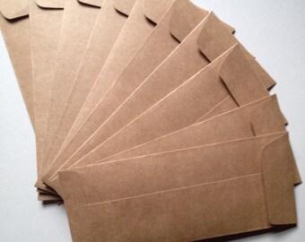 "25 Kraft Envelopes (9 1/2"" x 4 1/8"") Rustic Brown-Open End/Square Flap"