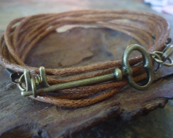 Last BRONZE KEY wrap bracelet with cotton straps (16)
