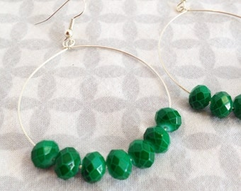 Stunning Emerald Green Faceted Glass Beaded Earrings