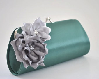 Pine Green clutch with Gray and Silver flowers - Bridesmaid Clutch / Bridal clutch