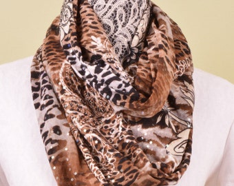 INFINITY SCARF- confetti sparkle cheetah - fashion scarf 63 by 12 inches
