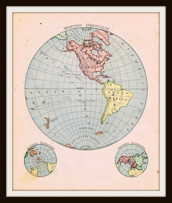 Antique WORLD Map - 1898 WESTERN Hemisphere - Buy 3 Maps, Get 1 FREE - 1885 Map