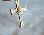 Sterling Silver Cross with Jasper Center stone Pendant or Charm Component Supply Finding Commercial