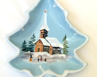 Dish Italy Winter Snowfall Church Scene Christmas Gift Candy Dish