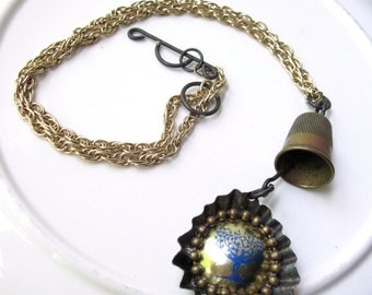 Assemblage Necklace, Blue Tree, Quilters Necklace, Found Object Necklace