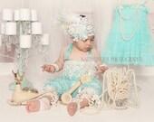 Baby Girl Romper/Vintage Set/Aqua Lace Petti Romper/Birthday Romper Set/Great Gastby Birthday/Cake Smash Outfit/1st Birthday Photo Shoot