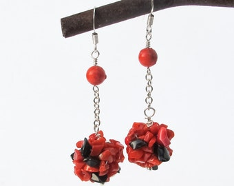 Red Coral Dangle Earrings, black Onyx Silver Crochet Gemstone Cluster Long Earrings Christmas Holidays Gift for her, Modern Jewelry