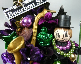 Mardi Gras Corsage Purple Green Gold Bourbon Street Party Saxaphone Spun Cotton Decoration