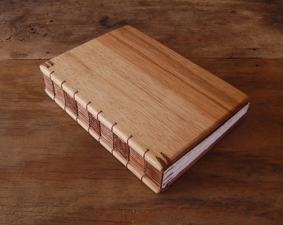handmade journal - unique hickory wood book - rustic wedding guest book - cabin guestbook brown yellow fall woodland neutral / ready to ship