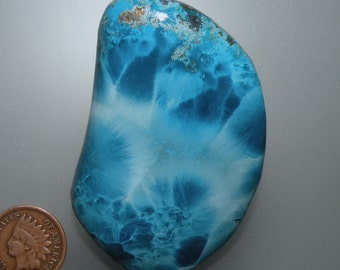 Shattuckite Blue Velvet Chatoyant Hand Cut Cabochon from Africa, free U.S. shipping