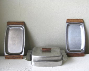 1960s Vintage Mid Century Scandinavian Stainless Appetizer Service Set