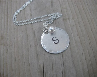 Personalized Initial Necklace- Hand-stamped initial with accent bead of your choice