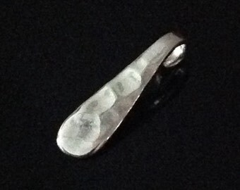 1 Sterling Silver Hammered Teardrop Charm ~ SMALL C109