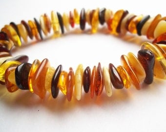 Multicolor BALTIC  AMBER  BRACELET  7.9 inches.
