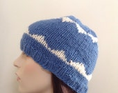 Hand Knit Hat, Beanie Hat, women & Teen Hat, Blue and White Wool/Mohair Blend. Gifts for women