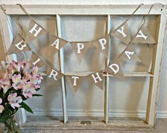 BIRTHDAY banner, Happy Birthday Banner, Birthday Bunting,  Birthday Garland, Birthday Party Decoration, Birthday Photo Prop, Burlap Banner