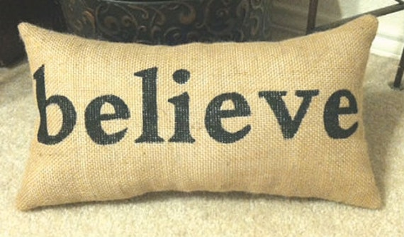 items similar to believe burlap pillow couch throw home