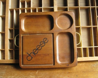 Vintage Wood Cheese Serving Board 1970s Serving Tray