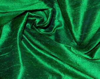 Silk Dupioni in Emerald  Green with Black, Fat qarter-D 223