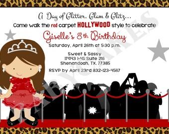 Hollywood Diva Birthday Invitation Invite Red Carpet DIY  - Choose your girl
